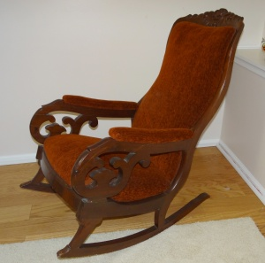 "Antique Early Victorian Mahogany Upholstered Rocking Chair ""Lincoln Rocker"""